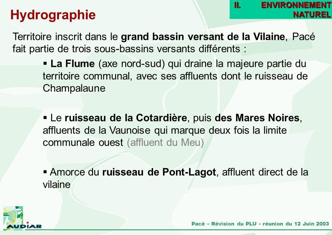 Pacé – Révision du PLU – réunion du 12 Juin 2003 Territoire inscrit dans le grand bassin versant de la Vilaine, Pacé fait partie de trois sous-bassins