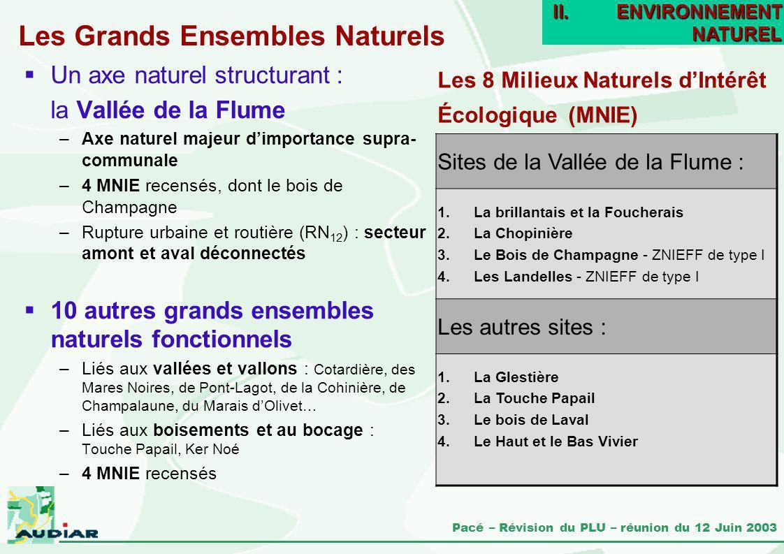 Pacé – Révision du PLU – réunion du 12 Juin 2003 Les Grands Ensembles Naturels Un axe naturel structurant : la Vallée de la Flume –Axe naturel majeur