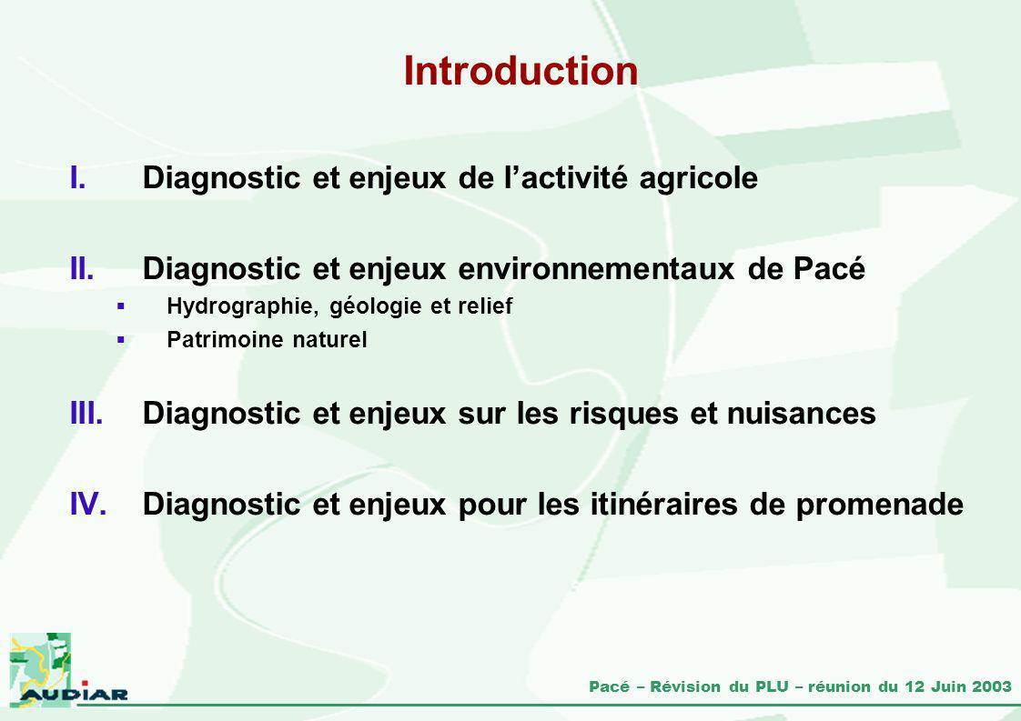 Pacé – Révision du PLU – réunion du 12 Juin 2003 Introduction I.Diagnostic et enjeux de lactivité agricole II.Diagnostic et enjeux environnementaux de