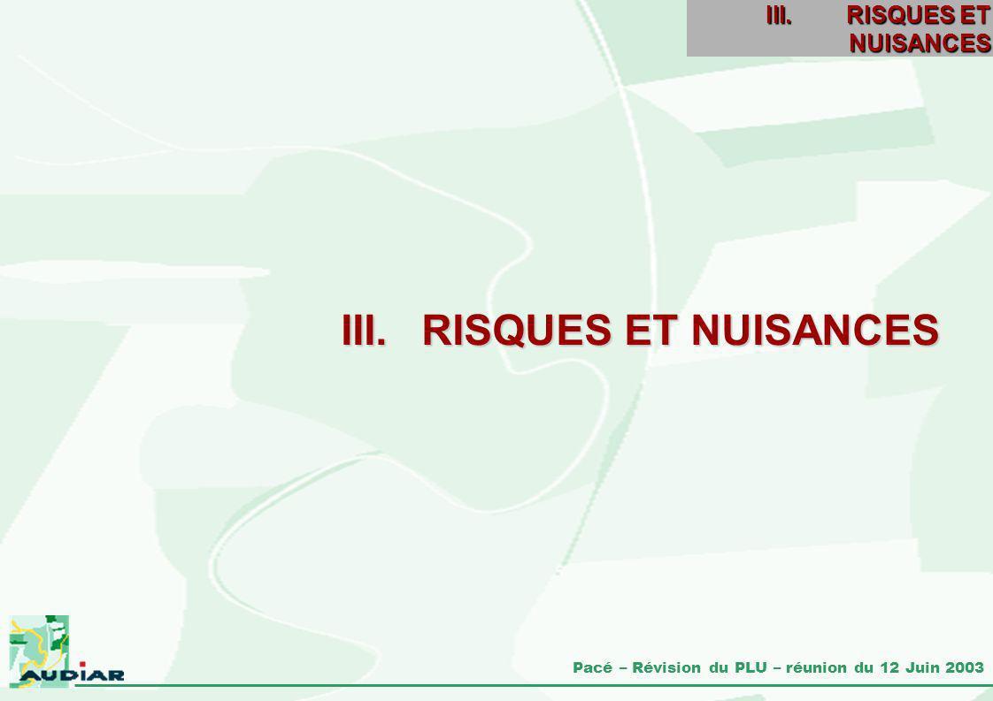 Pacé – Révision du PLU – réunion du 12 Juin 2003 III.RISQUES ET NUISANCES