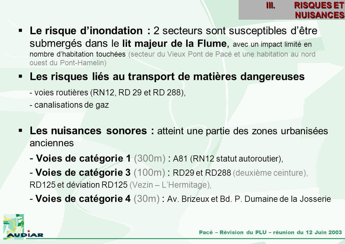 Pacé – Révision du PLU – réunion du 12 Juin 2003 Le risque dinondation : 2 secteurs sont susceptibles dêtre submergés dans le lit majeur de la Flume,