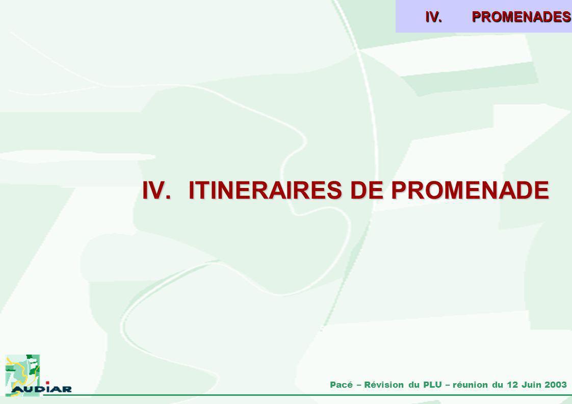 Pacé – Révision du PLU – réunion du 12 Juin 2003 IV.ITINERAIRES DE PROMENADE IV.PROMENADES