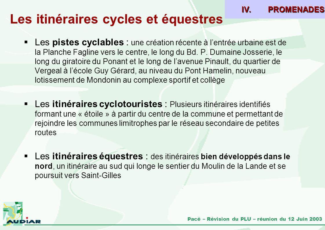 Pacé – Révision du PLU – réunion du 12 Juin 2003 Les itinéraires cycles et équestres Les pistes cyclables : une création récente à lentrée urbaine est