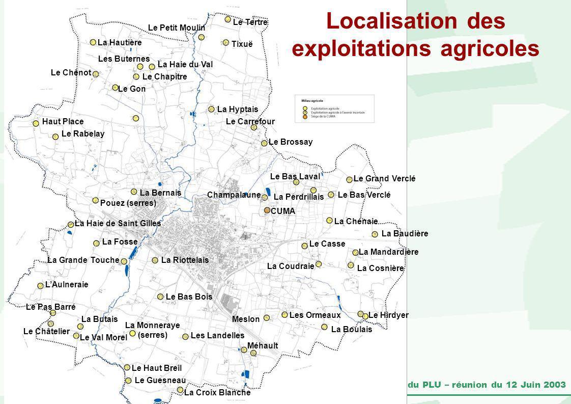 Pacé – Révision du PLU – réunion du 12 Juin 2003 Localisation des exploitations agricoles La Cosnière La Mandardière La Baudière La Chénaie Le Hirdyer