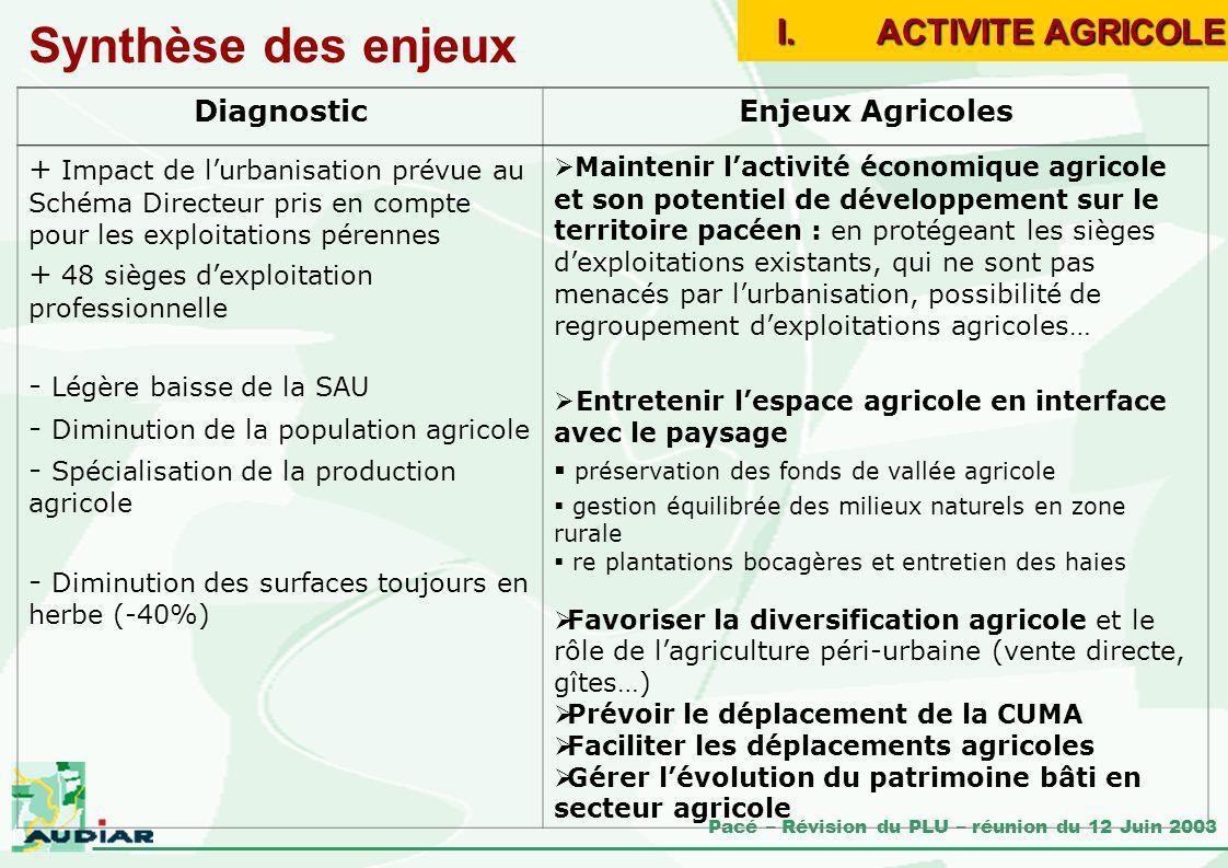 Pacé – Révision du PLU – réunion du 12 Juin 2003 Synthèse des enjeux DiagnosticEnjeux Agricoles + Impact de lurbanisation prévue au Schéma Directeur p