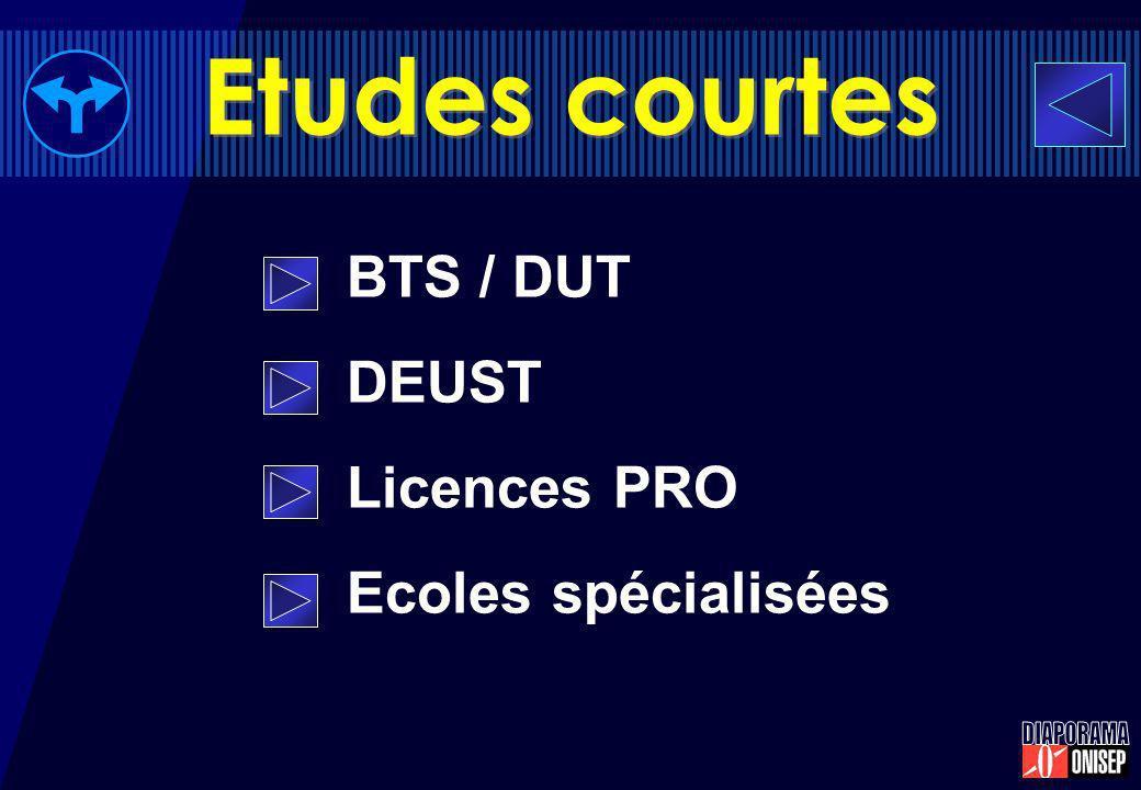 BTS / DUT DEUST Licences PRO Ecoles spécialisées Etudes courtes
