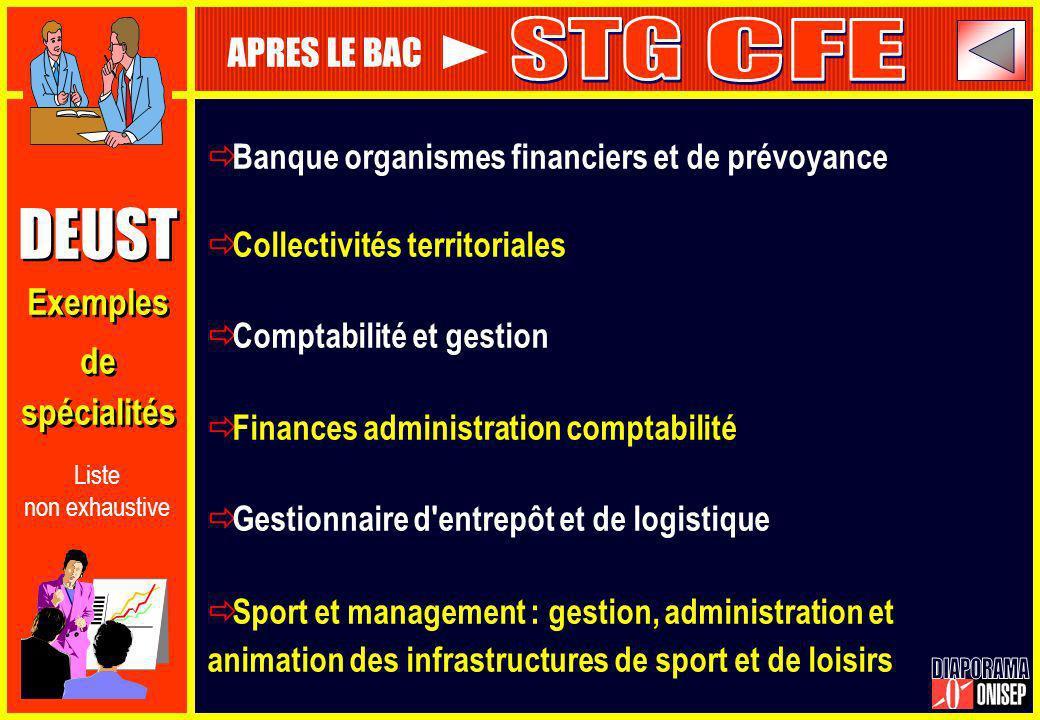 DEUST Exemples de spécialités DEUST Exemples de spécialités Banque organismes financiers et de prévoyance Collectivités territoriales Comptabilité et
