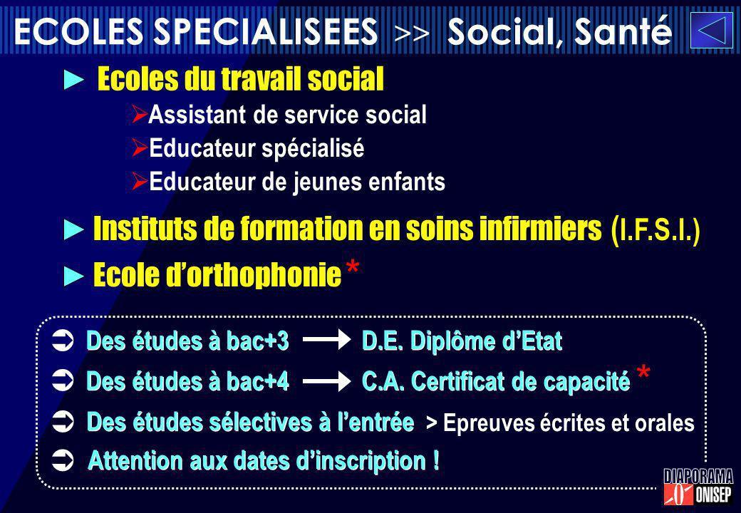 ECOLES SPECIALISEES >> Social, Santé Assistant de service social Educateur spécialisé Educateur de jeunes enfants Des études à bac+3 D.E. Diplôme dEta