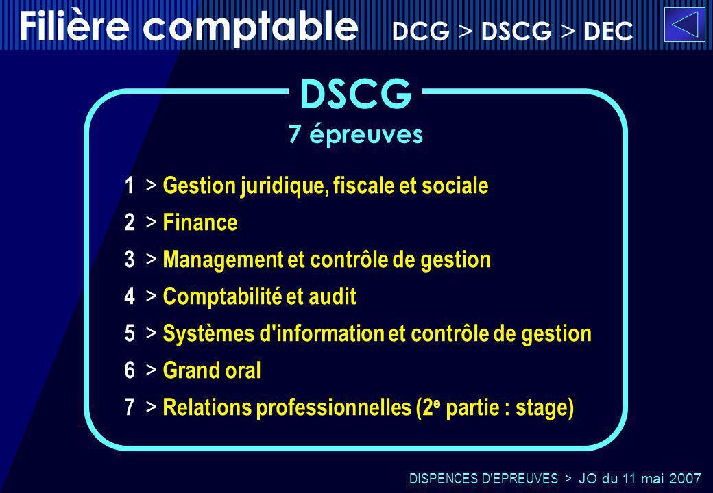 7 épreuves 1 > Gestion juridique, fiscale et sociale 2 > Finance 3 > Management et contrôle de gestion 4 > Comptabilité et audit 5 > Systèmes d'inform