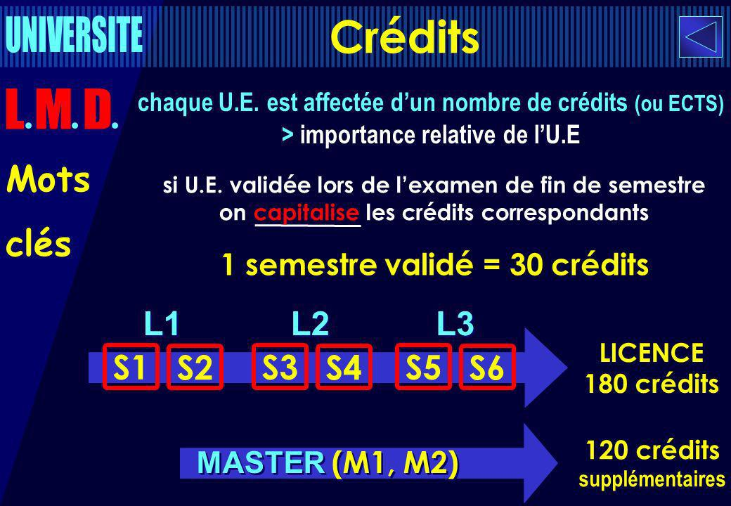 L1 S1 S2 L2 S3 S4 L3 S5 S6 chaque U.E. est affectée dun nombre de crédits (ou ECTS) > importance relative de lU.E 1 semestre validé = 30 crédits LICEN