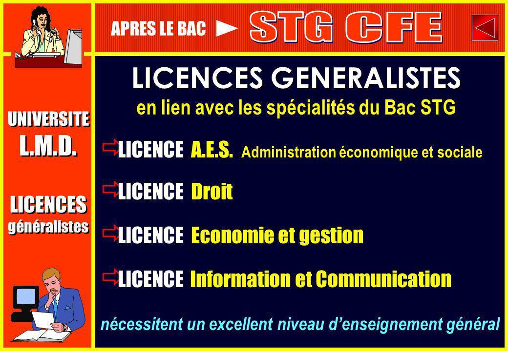 LICENCES GENERALISTES en lien avec les spécialités du Bac STG LICENCES GENERALISTES en lien avec les spécialités du Bac STG LICENCE A.E.S. Administrat