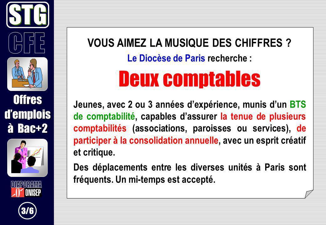 VOUS AIMEZ LA MUSIQUE DES CHIFFRES ? Le Diocèse de Paris recherche : Deux comptables Jeunes, avec 2 ou 3 années dexpérience, munis dun BTS de comptabi