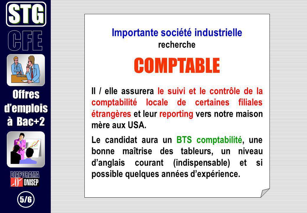 Importante société industrielle recherche COMPTABLE Il / elle assurera le suivi et le contrôle de la comptabilité locale de certaines filiales étrangè
