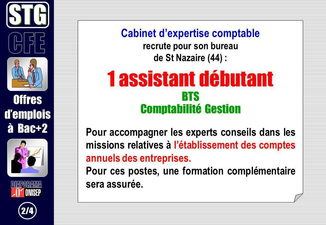 Cabinet dexpertise comptable recrute pour son bureau de St Nazaire (44) : 1 assistant débutant BTS Comptabilité Gestion Pour accompagner les experts c