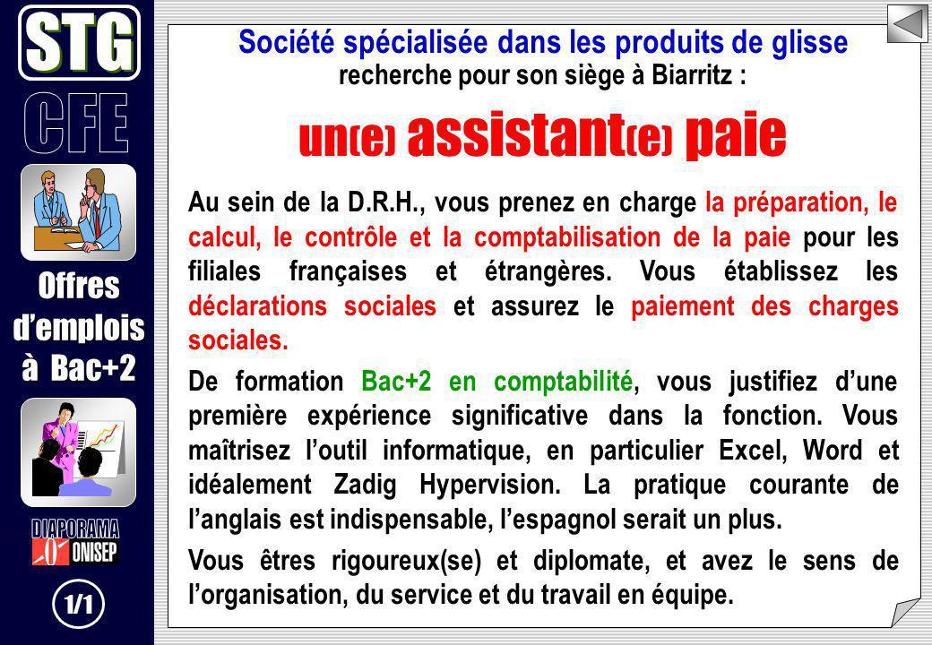 Société spécialisée dans les produits de glisse recherche pour son siège à Biarritz : un ( e ) assistant ( e ) paie Au sein de la D.R.H., vous prenez