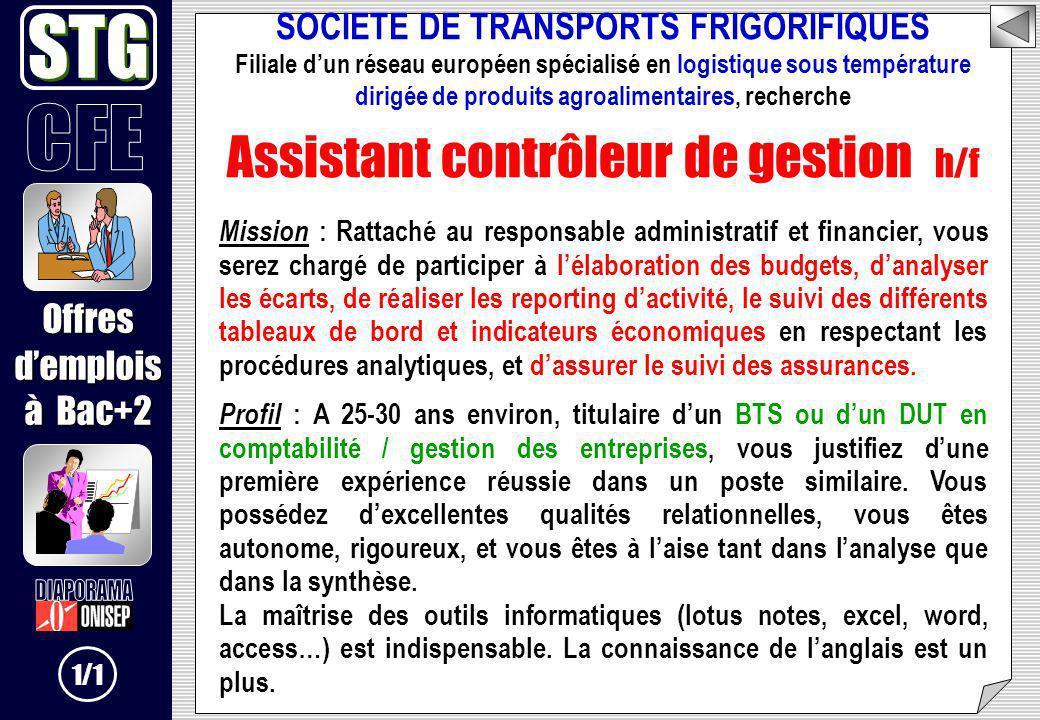 SOCIETE DE TRANSPORTS FRIGORIFIQUES Filiale dun réseau européen spécialisé en logistique sous température dirigée de produits agroalimentaires, recher