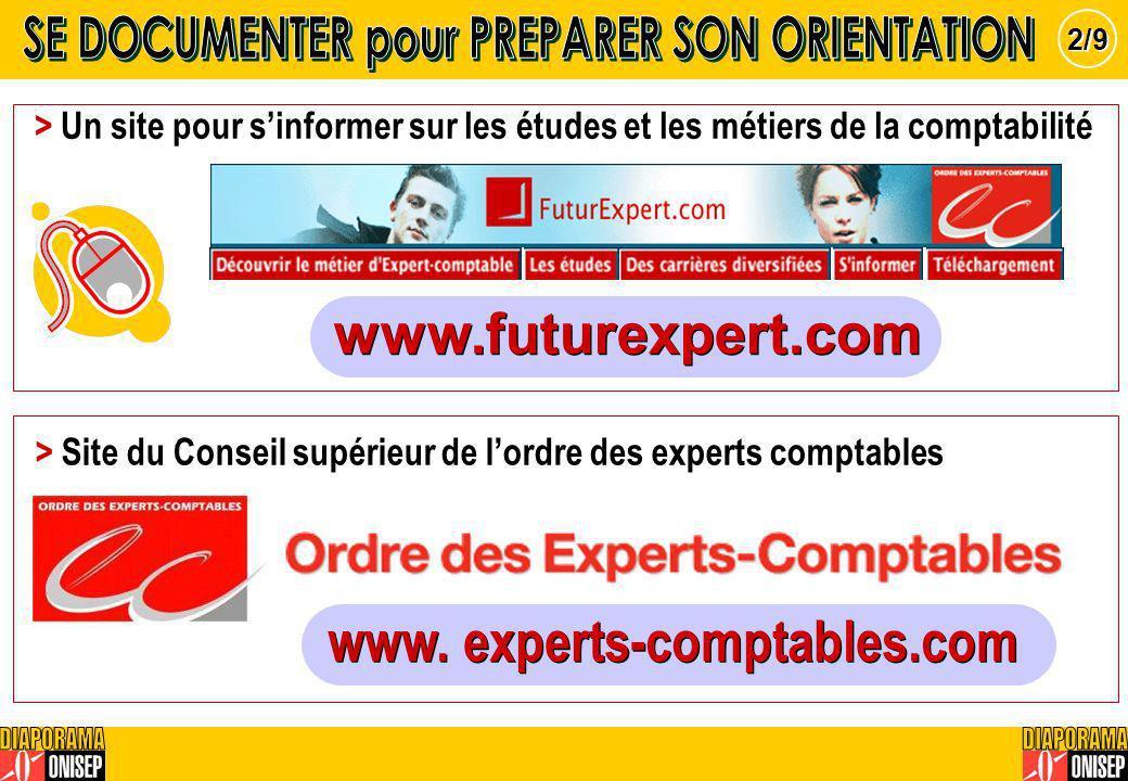 > Un site pour sinformer sur les études et les métiers de la comptabilité > Site du Conseil supérieur de lordre des experts comptables 2/9 www.futurex
