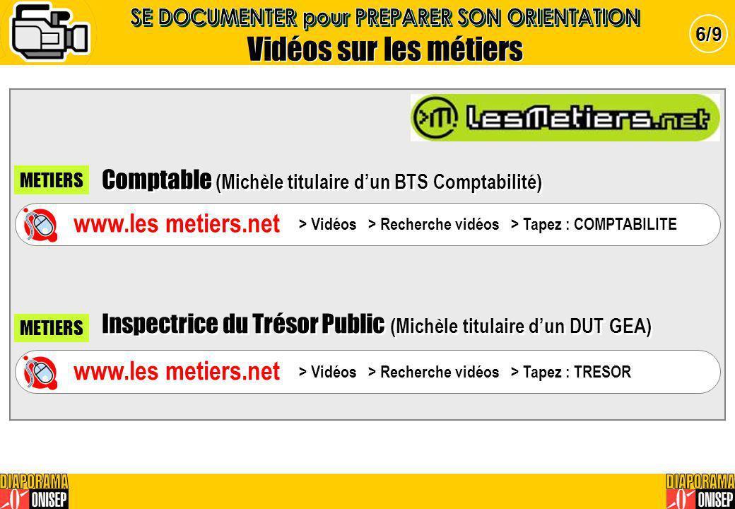 Vidéos sur les métiers 6/9 Comptable (Michèle titulaire dun BTS Comptabilité) Inspectrice du Trésor Public (Michèle titulaire dun DUT GEA) Comptable (