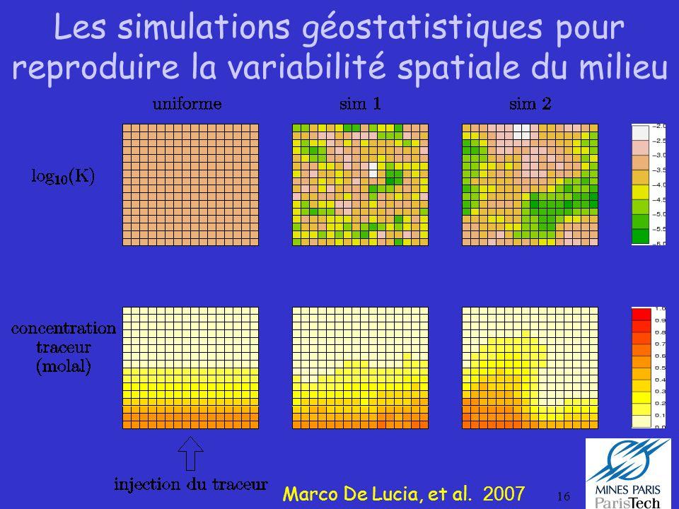 16 Les simulations géostatistiques pour reproduire la variabilité spatiale du milieu Marco De Lucia, et al. 2007