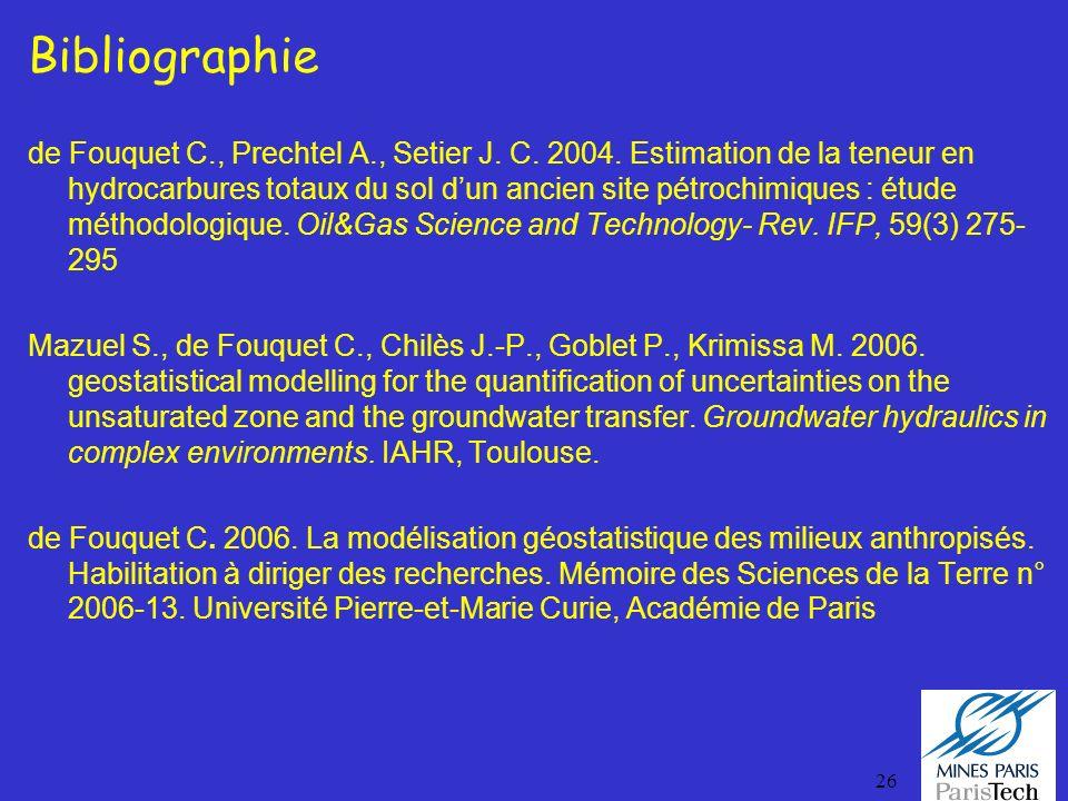 26 Bibliographie de Fouquet C., Prechtel A., Setier J. C. 2004. Estimation de la teneur en hydrocarbures totaux du sol dun ancien site pétrochimiques