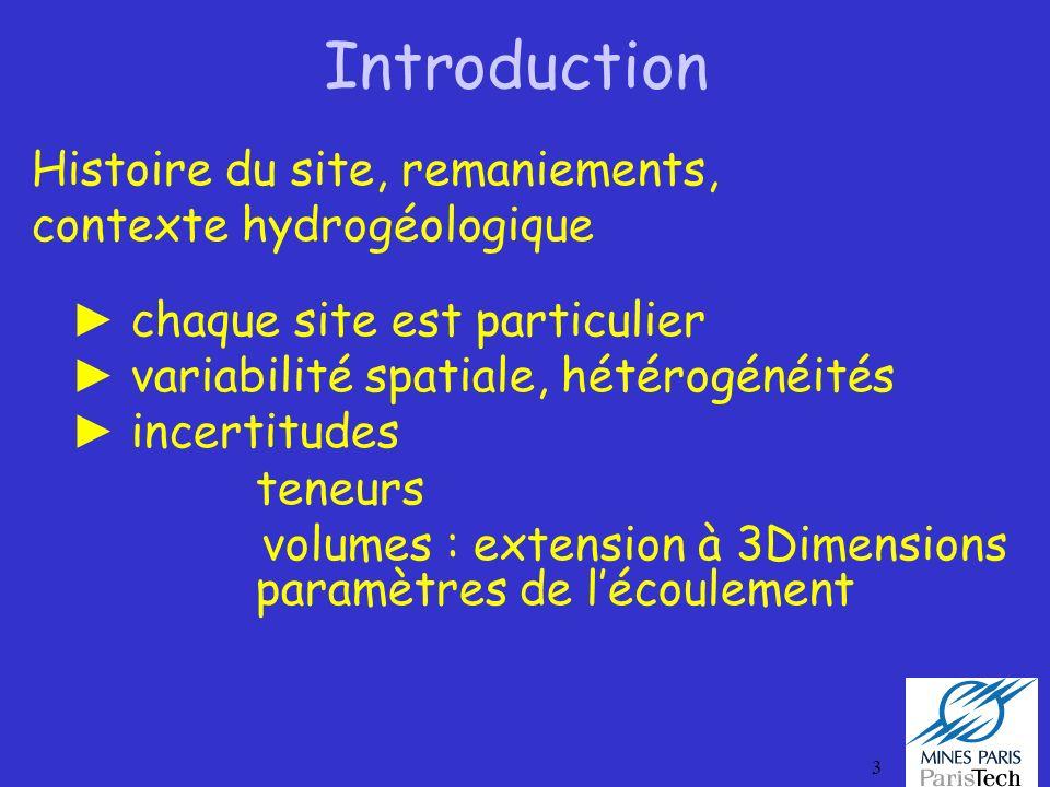 3 Introduction Histoire du site, remaniements, contexte hydrogéologique chaque site est particulier variabilité spatiale, hétérogénéités incertitudes