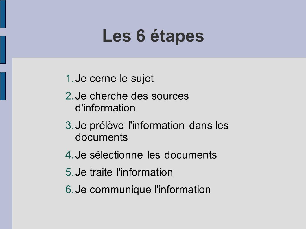 Les 6 étapes 1.Je cerne le sujet 2.Je cherche des sources d'information 3.Je prélève l'information dans les documents 4.Je sélectionne les documents 5
