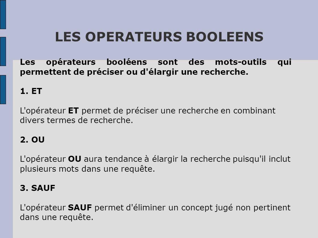 LES OPERATEURS BOOLEENS Les opérateurs booléens sont des mots-outils qui permettent de préciser ou d'élargir une recherche. 1. ET L'opérateur ET perme