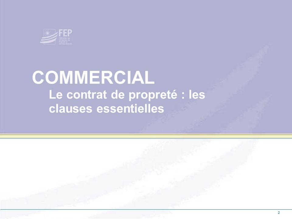 2 COMMERCIAL Le contrat de propreté : les clauses essentielles 2