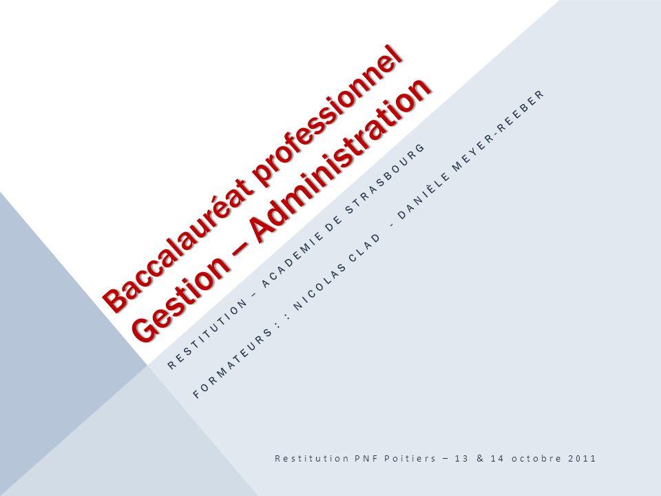 Baccalauréat professionnel Gestion -- Administration RESTITUTION – ACADEMIE DE STRASBOURG FORMATEURS : : NICOLAS CLAD - DANIÈLE MEYER-REEBER Restituti