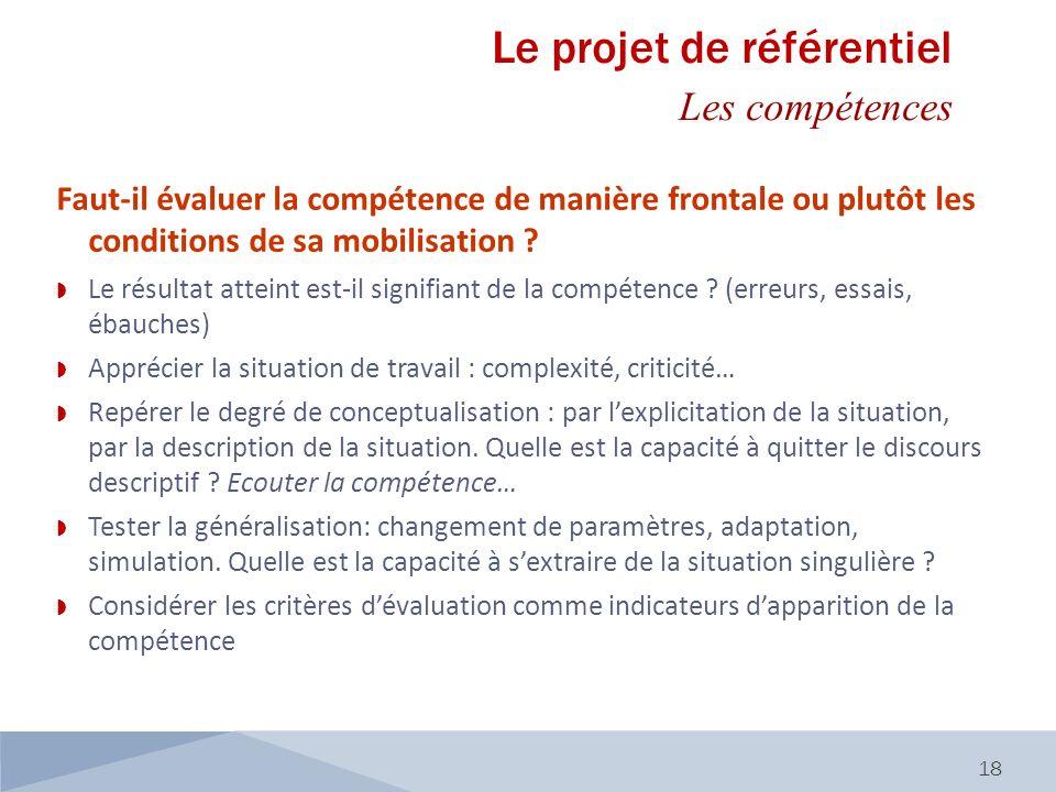 18 Faut-il évaluer la compétence de manière frontale ou plutôt les conditions de sa mobilisation ? Le résultat atteint est-il signifiant de la compéte