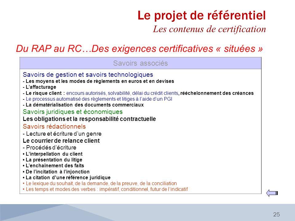 Du RAP au RC…Des exigences certificatives « situées » 25 Savoirs associés Savoirs de gestion et savoirs technologiques - Les moyens et les modes de rè
