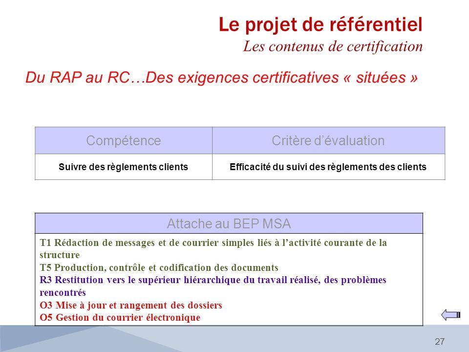 Du RAP au RC…Des exigences certificatives « situées » 27 CompétenceCritère dévaluation Suivre des règlements clientsEfficacité du suivi des règlements