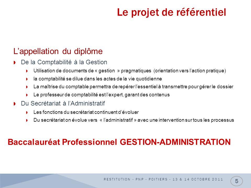 Le projet de référentiel RESTITUTION - PNP - POITIERS - 13 & 14 OCTOBRE 2011 5 Lappellation du diplôme De la Comptabilité à la Gestion Utilisation de