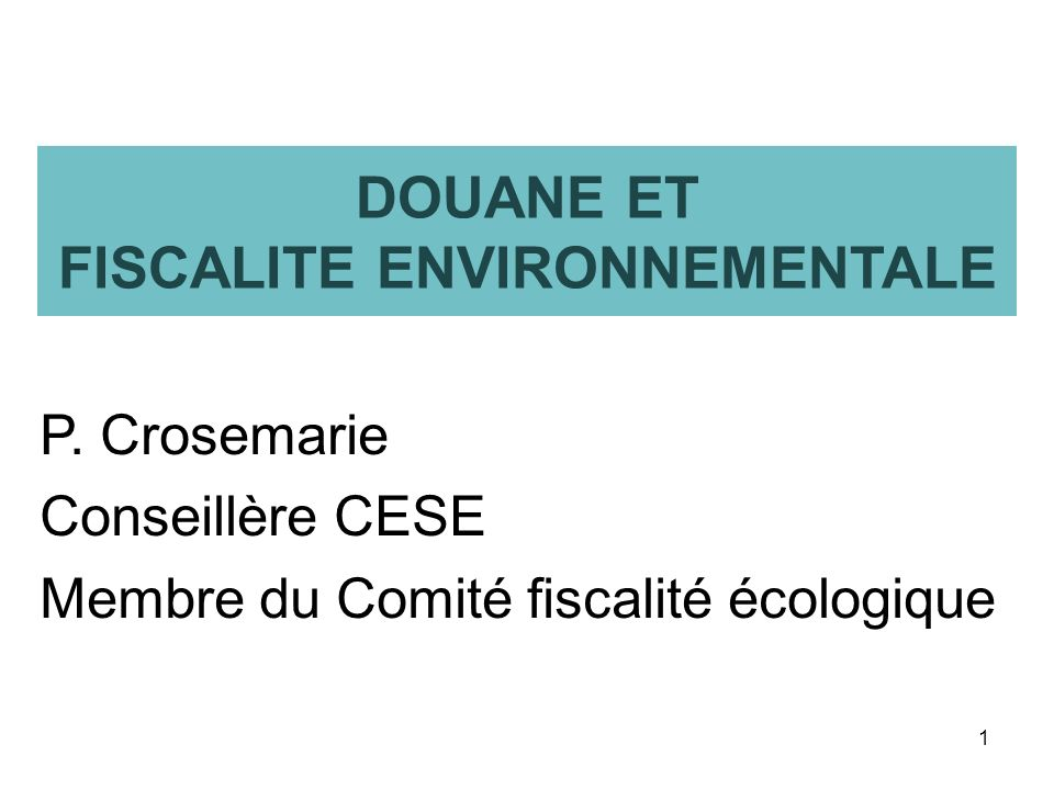 DOUANE ET FISCALITE ENVIRONNEMENTALE P. Crosemarie Conseillère CESE Membre du Comité fiscalité écologique 1