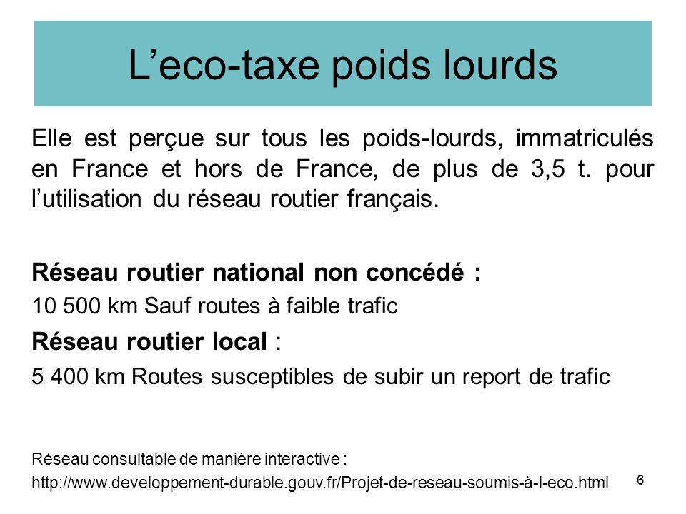 Leco-taxe poids lourds Elle est perçue sur tous les poids-lourds, immatriculés en France et hors de France, de plus de 3,5 t.