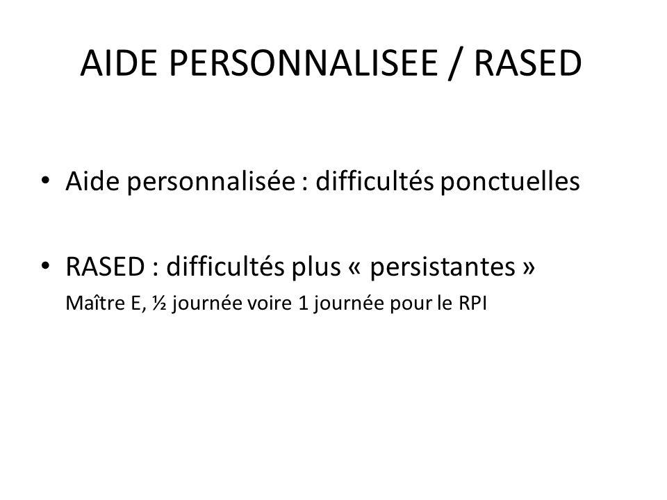 AIDE PERSONNALISEE / RASED Aide personnalisée : difficultés ponctuelles RASED : difficultés plus « persistantes » Maître E, ½ journée voire 1 journée