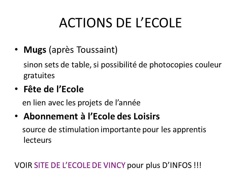 ACTIONS DE LECOLE Mugs (après Toussaint) sinon sets de table, si possibilité de photocopies couleur gratuites Fête de lEcole en lien avec les projets