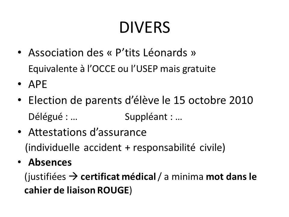 DIVERS Association des « Ptits Léonards » Equivalente à lOCCE ou lUSEP mais gratuite APE Election de parents délève le 15 octobre 2010 Délégué : … Sup