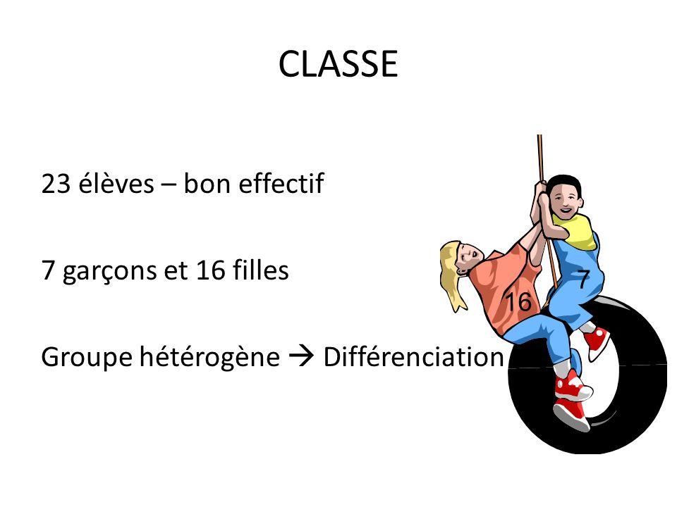 CLASSE 23 élèves – bon effectif 7 garçons et 16 filles Groupe hétérogène Différenciation 16 7