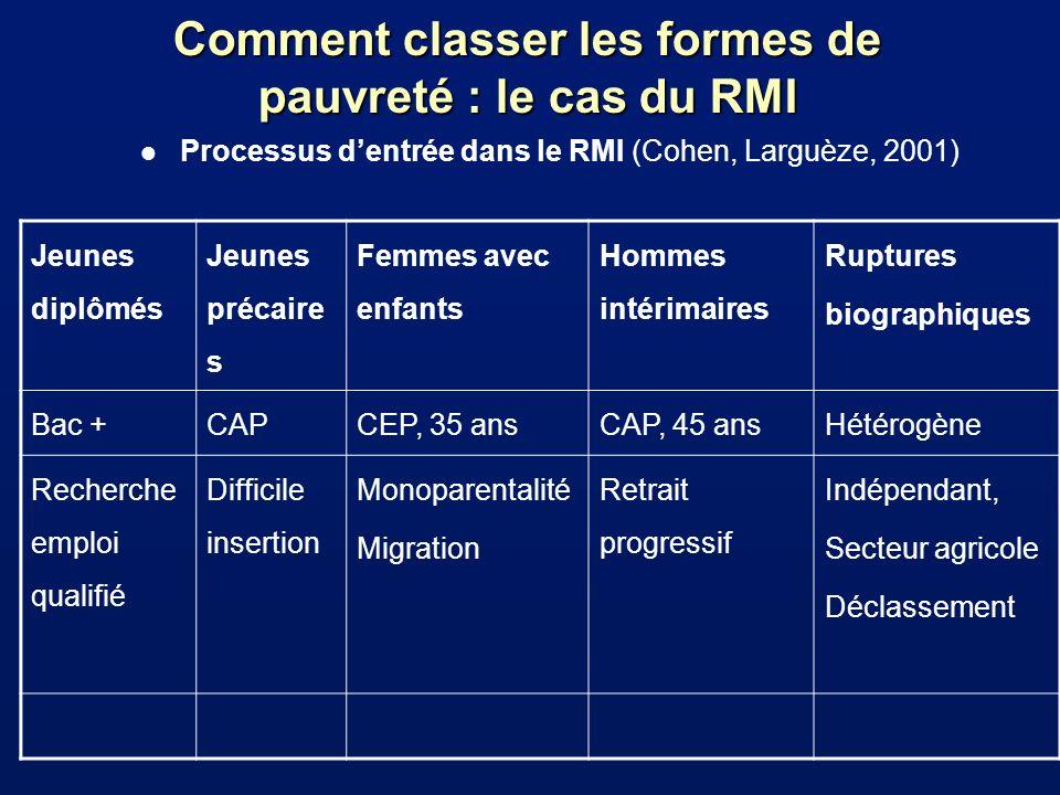 Comment classer les formes de pauvreté : le cas du RMI l Processus dentrée dans le RMI (Cohen, Larguèze, 2001) Jeunes diplômés Jeunes précaire s Femme
