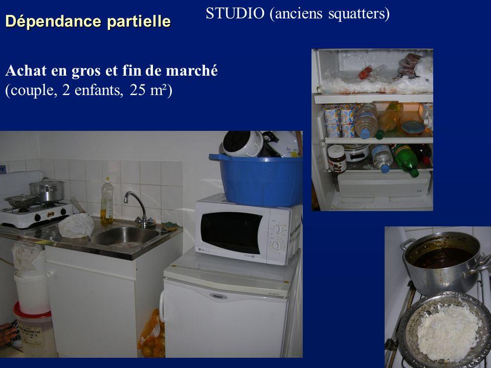 Dépendance partielle STUDIO (anciens squatters) Achat en gros et fin de marché (couple, 2 enfants, 25 m²)
