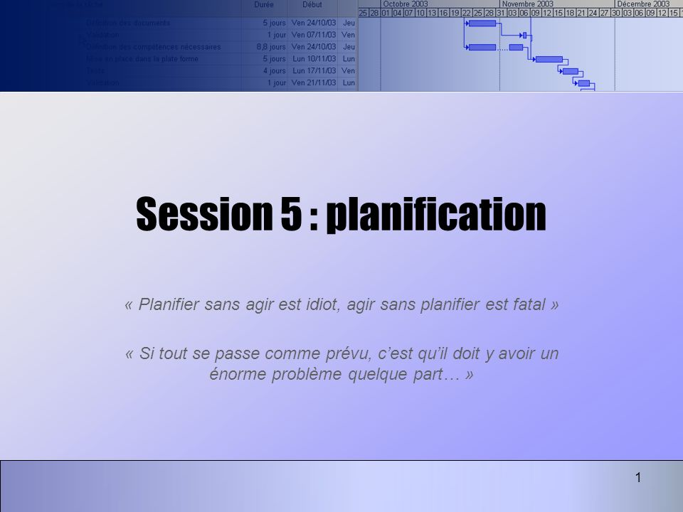 1 Session 5 : planification « Planifier sans agir est idiot, agir sans planifier est fatal » « Si tout se passe comme prévu, cest quil doit y avoir un