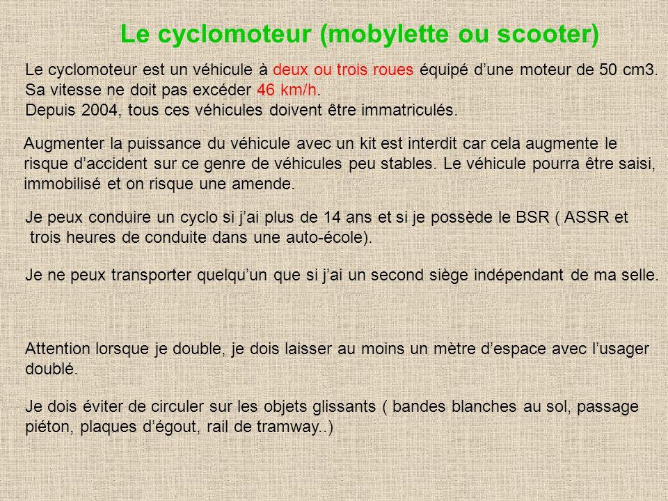 Le cyclomoteur (mobylette ou scooter) Le cyclomoteur est un véhicule à deux ou trois roues équipé dune moteur de 50 cm3. Sa vitesse ne doit pas excéde