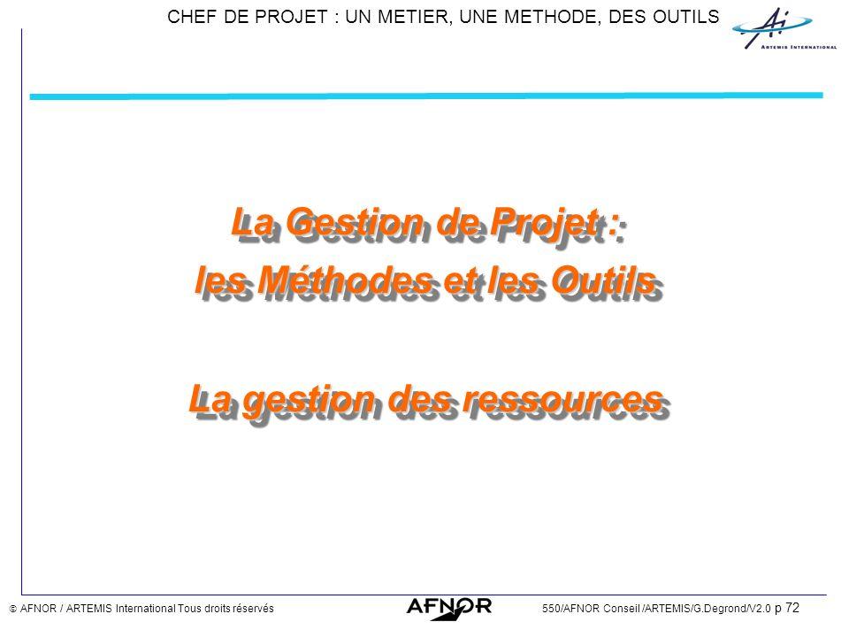CHEF DE PROJET : UN METIER, UNE METHODE, DES OUTILS AFNOR / ARTEMIS International Tous droits réservés550/AFNOR Conseil /ARTEMIS/G.Degrond/V2.0 p 72 L