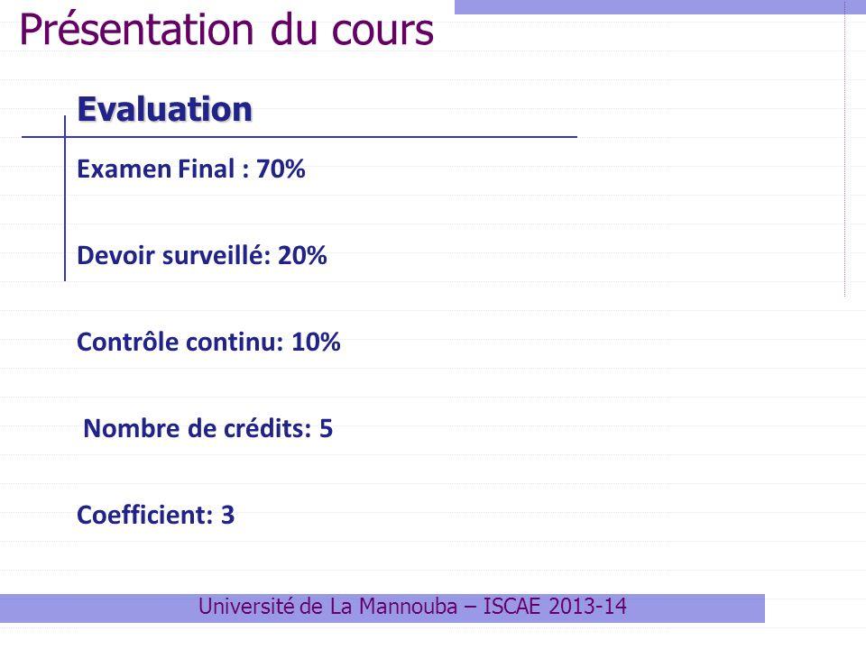 Evaluation Examen Final : 70% Devoir surveillé: 20% Contrôle continu: 10% Nombre de crédits: 5 Coefficient: 3 Présentation du cours Université de La M