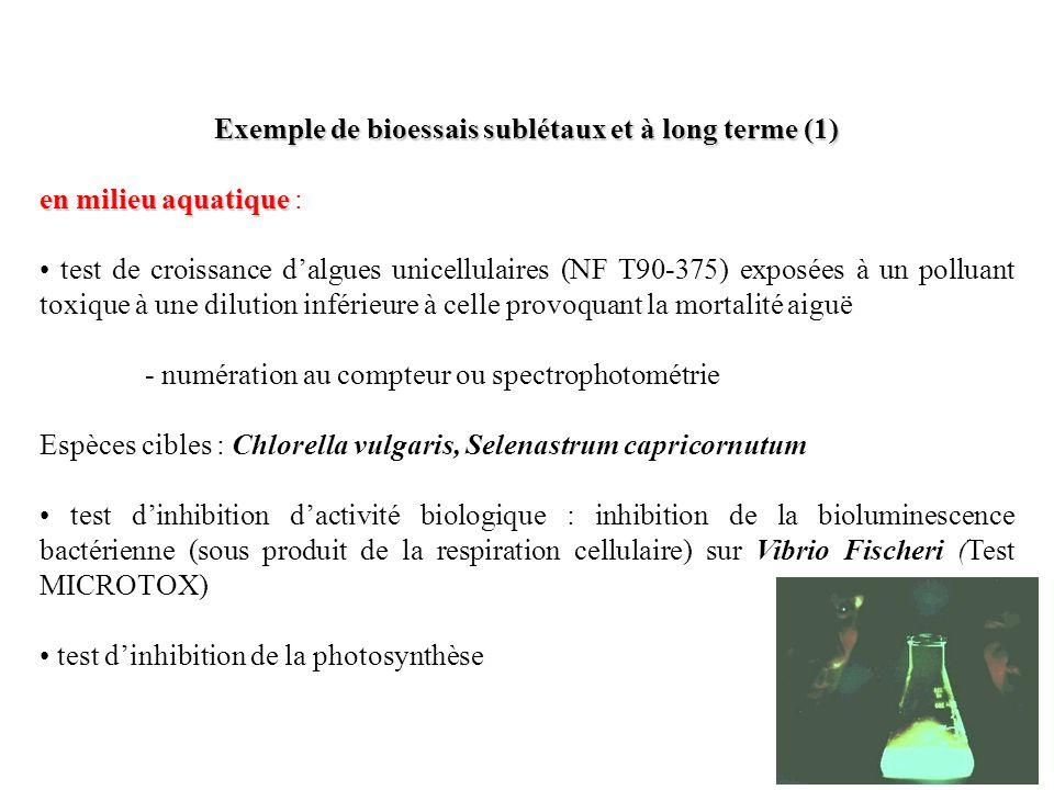 Exemple de bioessais sublétaux et à long terme (2) en milieu terrestre en milieu terrestre : tests macroinvertébrés de la pédofaune pour toxicité des sols ou de lair isopodes (cloportes) Porcellio scaber et Oniscus asellus acarien de litière des forêts Platynothrus peltifer (métaux toxiques) collembole Folsomia candida (test normalisé à 28 jours) OCDE acariens corticoles pour biotests daéropolluants mollusques gastéropodes pulmonés (limaces, Arion ater) et escargots (Helix adserpa, H.