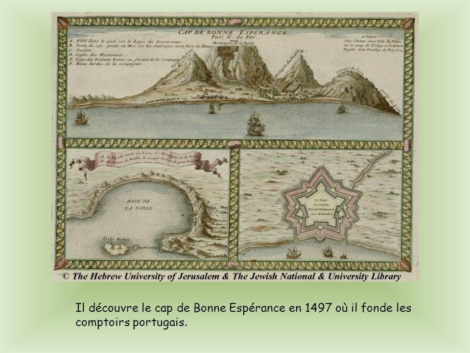 Pour son premier voyage, Vasco de Gama, décide datteindre lInde en contournant lAfrique. Il atteint Calicut en 1498 où il rencontre un marchand tunisi