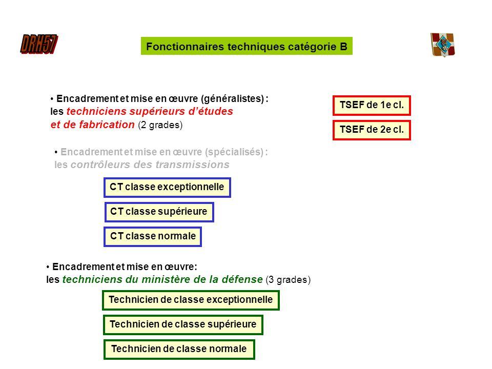Encadrement et mise en œuvre (généralistes) : les techniciens supérieurs détudes et de fabrication (2 grades) TSEF de 2e cl.