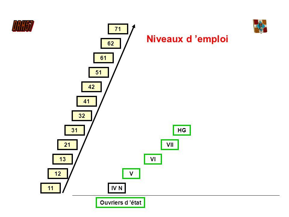 12 51 13 21 31 32 42 41 61 62 71 11 HG IV N V VI VII Ouvriers d état Niveaux d emploi