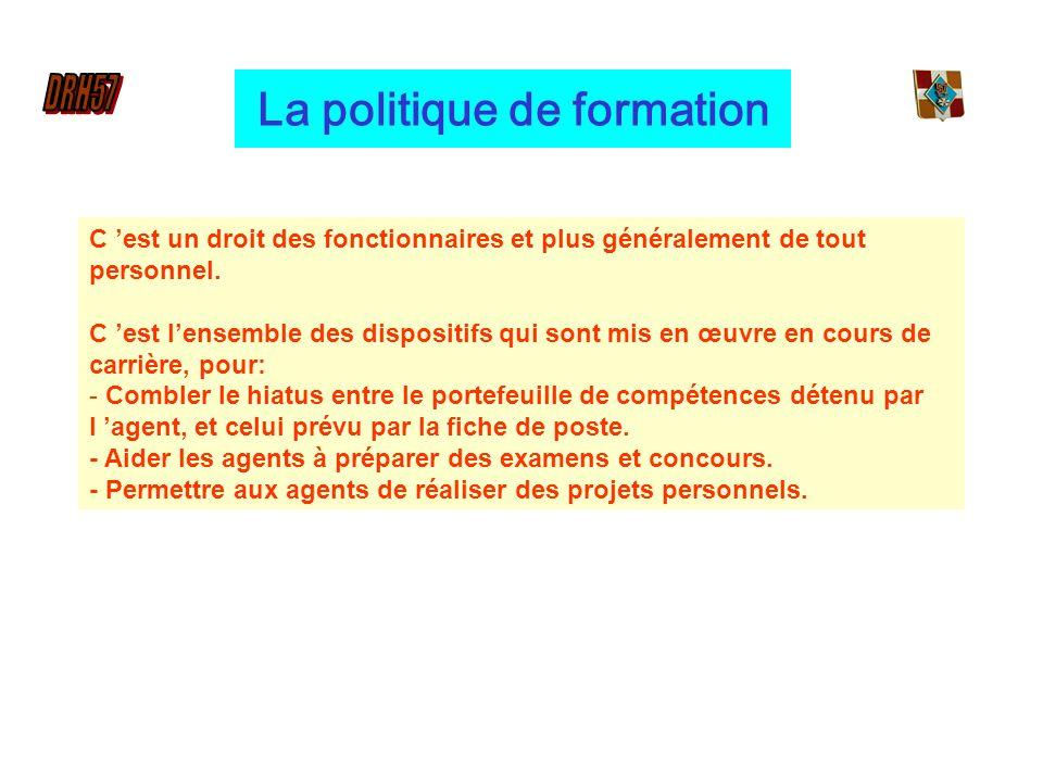 La politique de formation C est un droit des fonctionnaires et plus généralement de tout personnel.